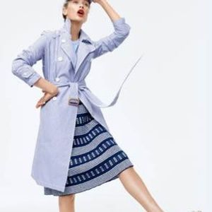 J Crew Trench Coat Double Breasted Shirting Stripe